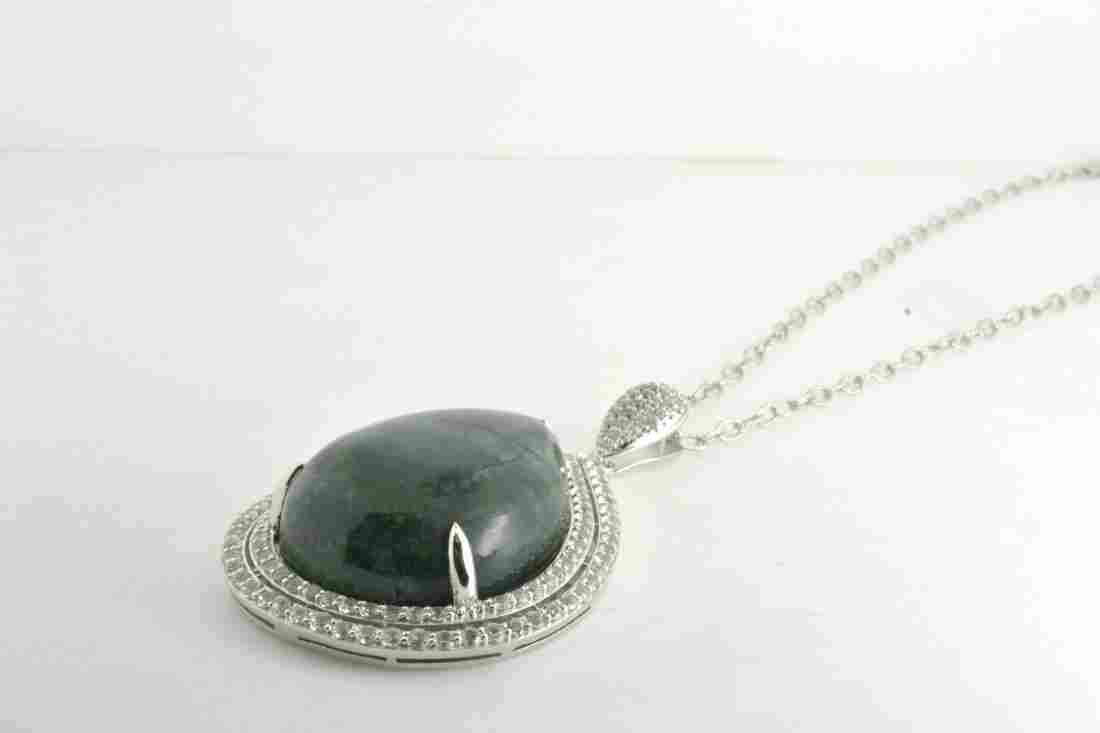 Dyed Green Beryl & White Sapphire Necklace Apprasied Va