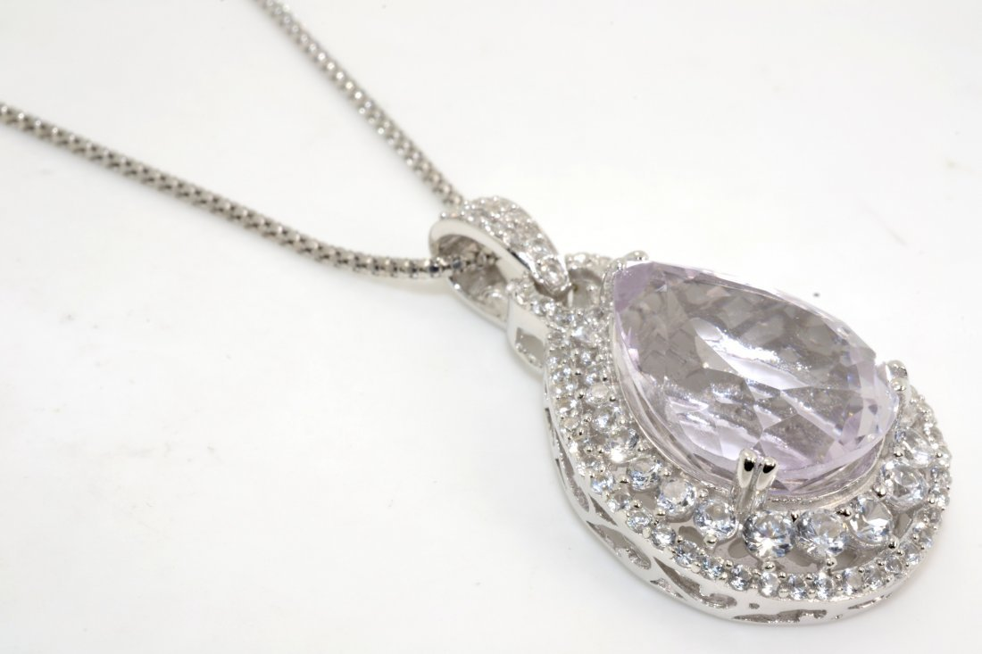 Kunzite & Sapphire Necklace Appraised Value: $5,750