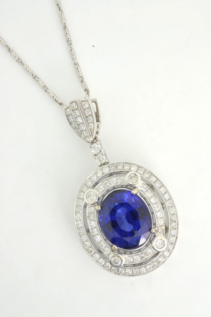 Diamond & Blue Sapphire Necklace (EGL CERTIFIED) AV: $1