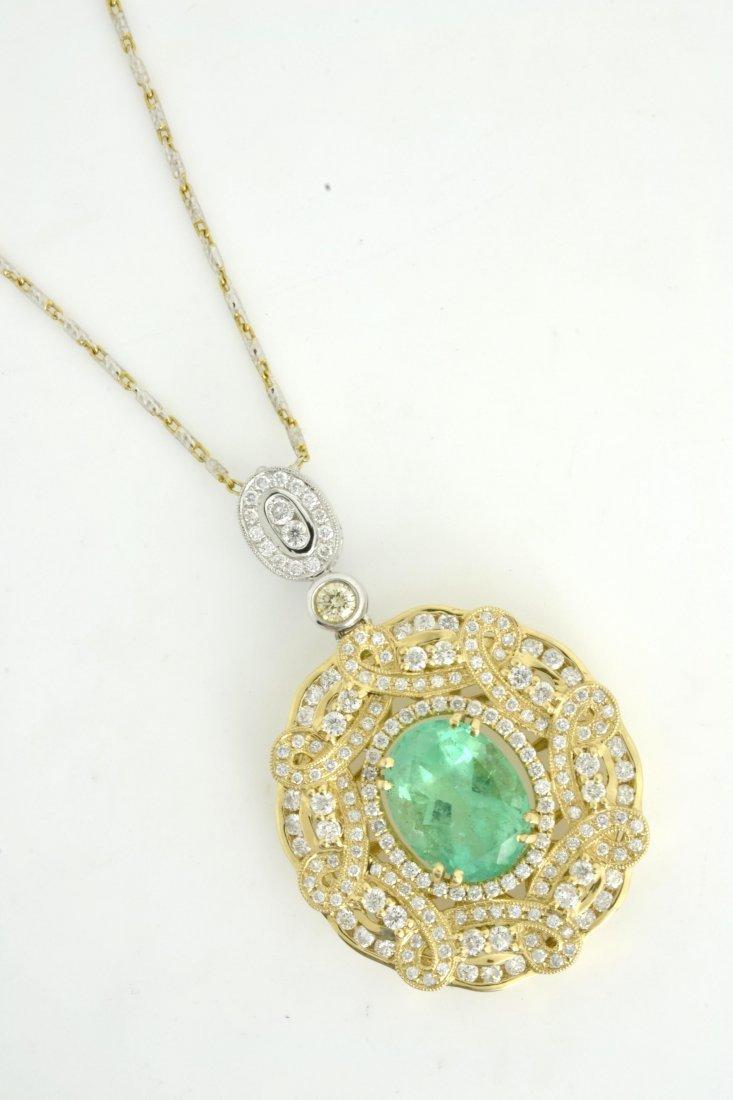 Diamond & Emerald Necklace AV: $17,335