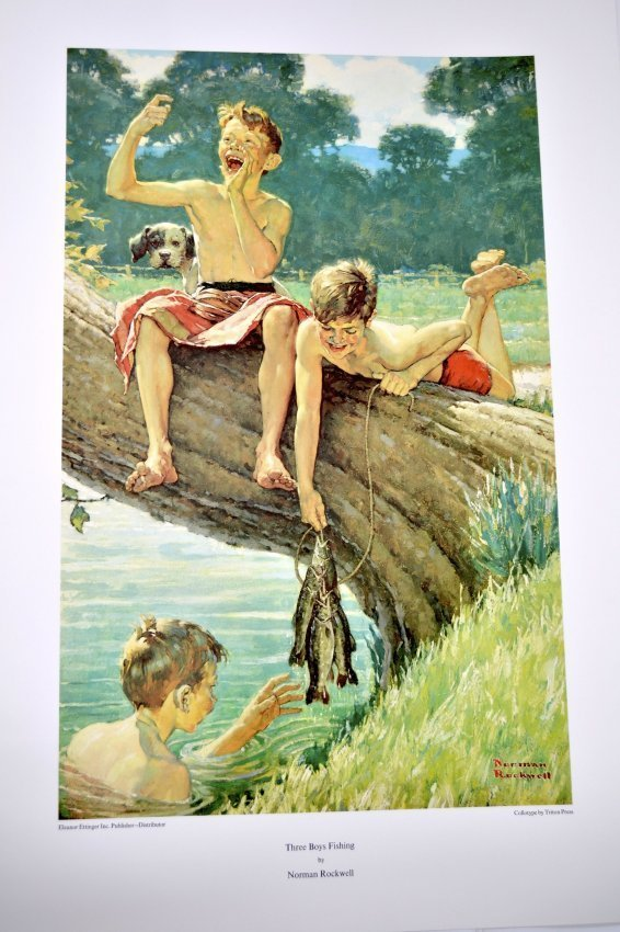 "Norman Rockwell's ""Three Boys Fishing"" Art (COLLOTYPE)"
