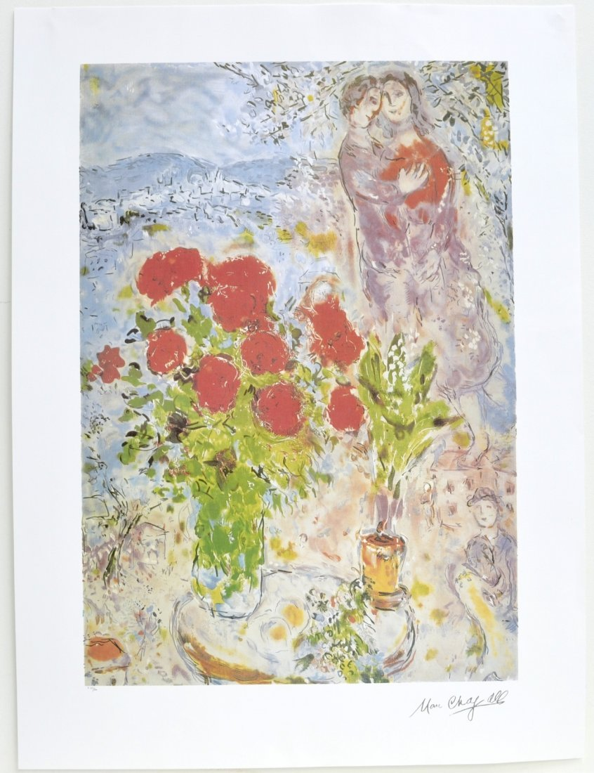 """Marc Chagall's """"Red Bouquet With Lovers"""" Art (LITHO)"""