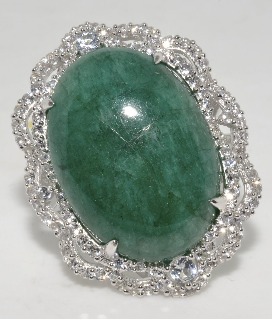 Emerald/Beryl & Sapphire Ring AV: $ 4,781