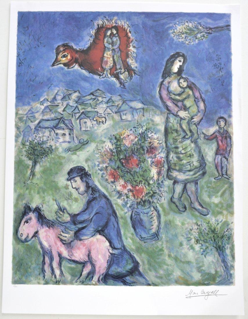 """Marc Chagall's """"Sur La Route Du Village"""" Art (LITHO)"""