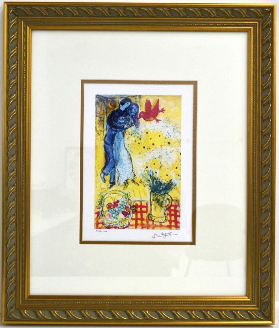 "Marc Chagall's ""Lovers And Daises"" Art (FRAMED)"