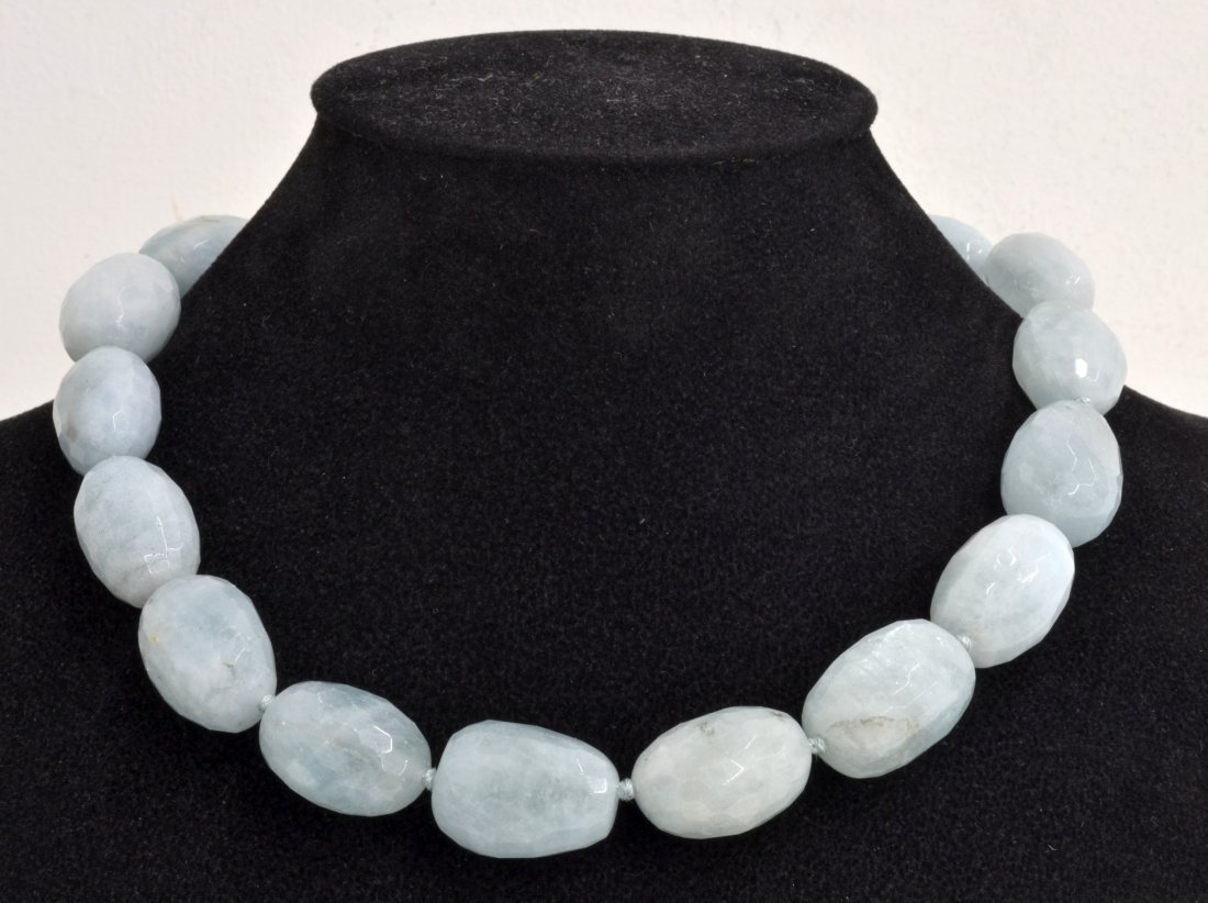 Aquamarine Bead Necklace Appraised Value: $5,253