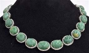 Green Beryl  White Sapphire Necklace AV 9100