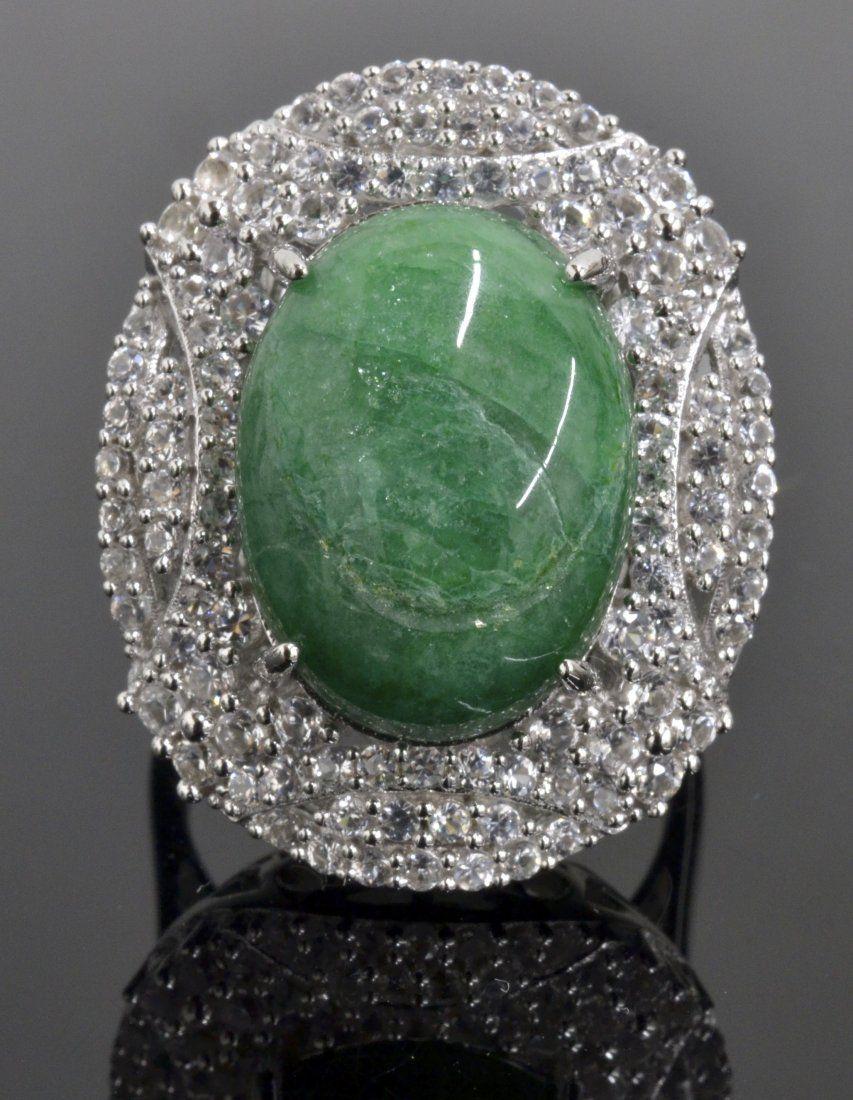 Green Beryl & Sapphire Ring AV:$ 1,280