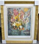 Marc Chagalls Floral Bouquet Art FRAMED LITHO