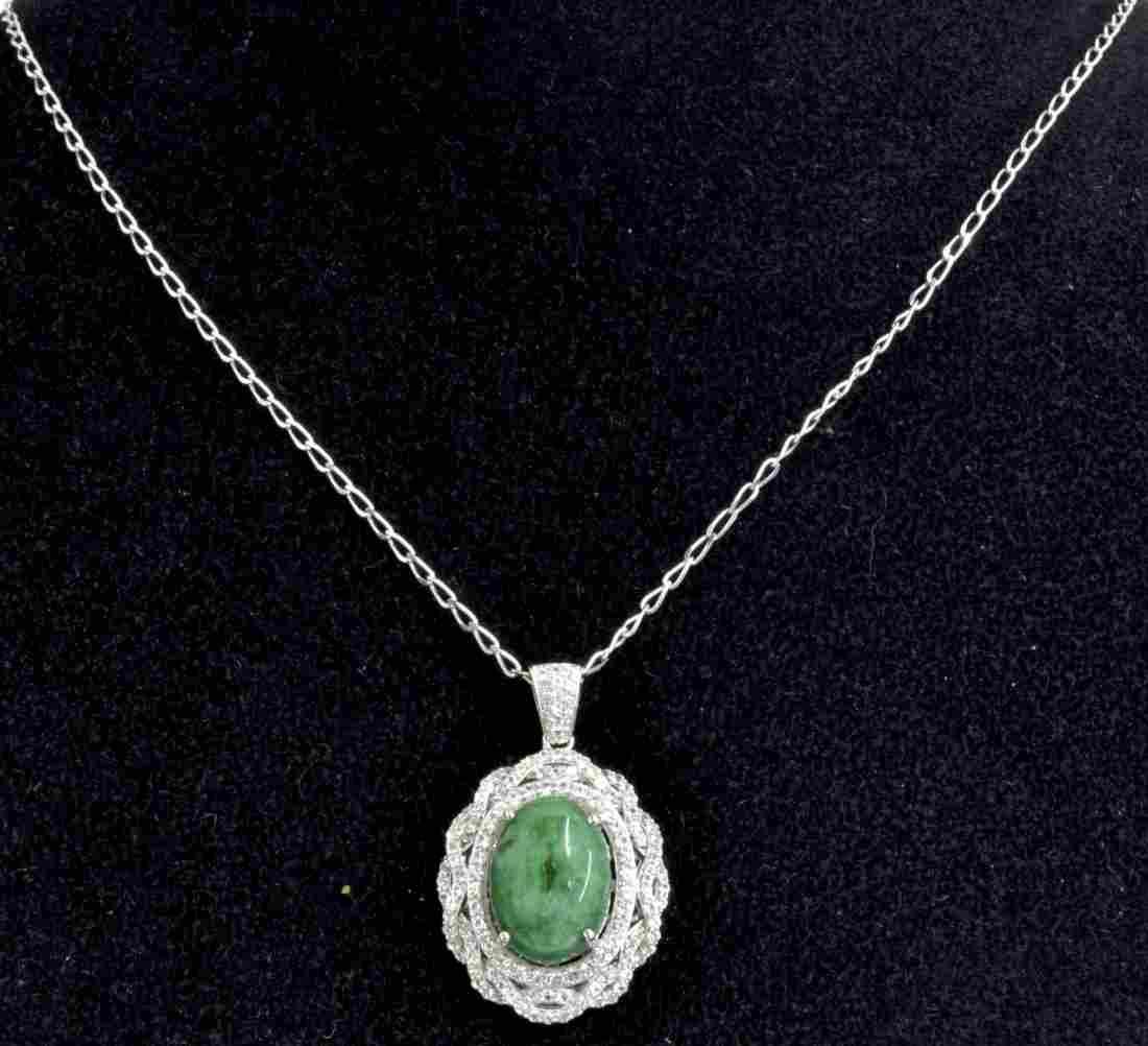 Green Beryl & White Sapphire Necklace AV: $1,750