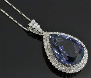 Tanzanite & Diamond Necklace (GIA CERTIFIED) AV: