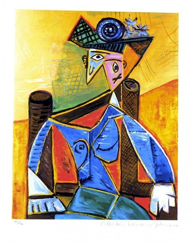 """Pablo Picasso's """"Seated Woman In Armchair"""" (LITHOGRAPH)"""