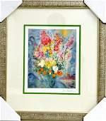 Marc Chagalls Floral Bouquet Art FRAMED