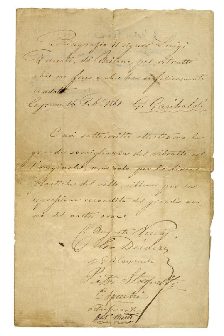 Garibaldi, Lettera manoscritta con data e firma