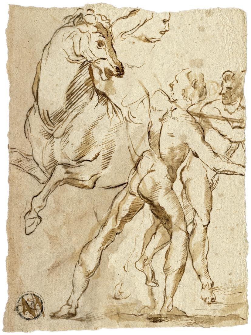 Anonimo XVII sec., Guerriero a cavallo che lotta