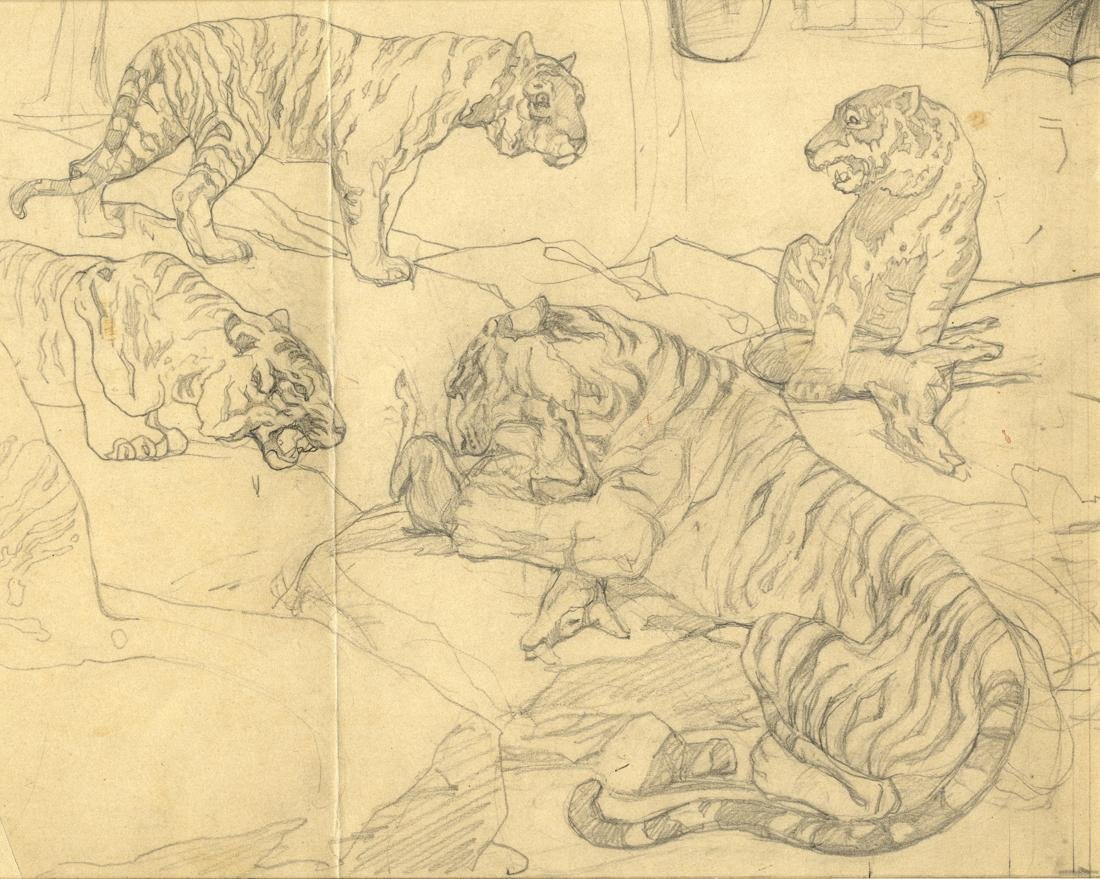 Cavalieri, Lotto di 3 disegni con animali