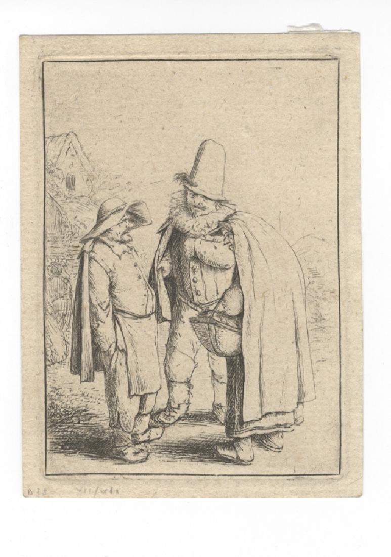 Ostade, Due uomini e una donna in conversazione.