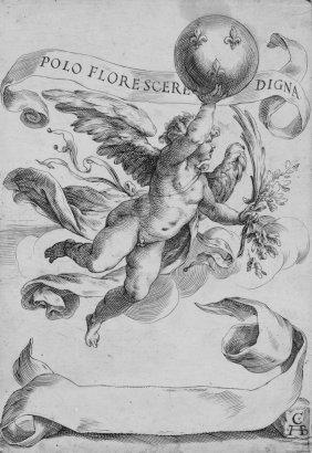 791: Alberti Cherubino, Winged genius with globe