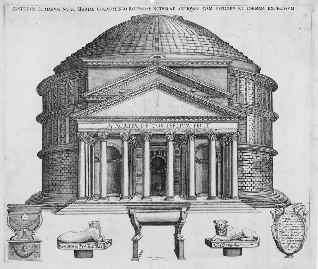 800: Beatrizet Nicolas, View of the Pantheon in Rome