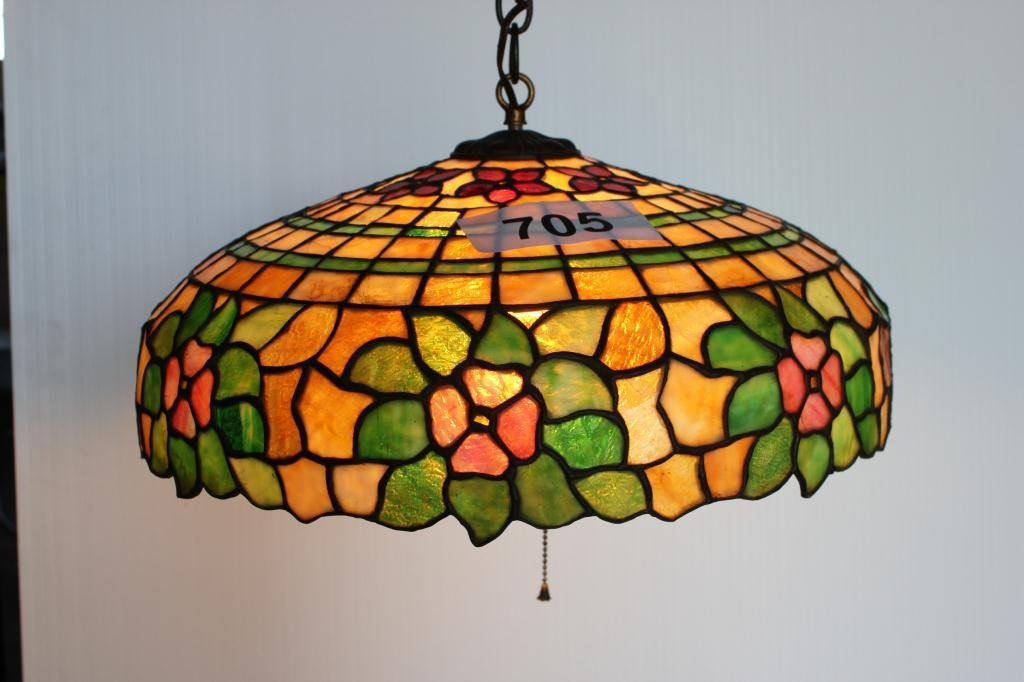 705: Hanging Lamp- Petunia Pattern Leaded