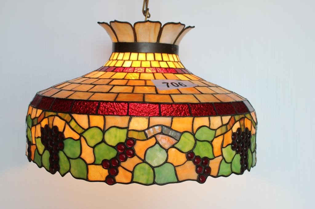 706: Hanging Lamp- Grape Pattern Leaded Shade