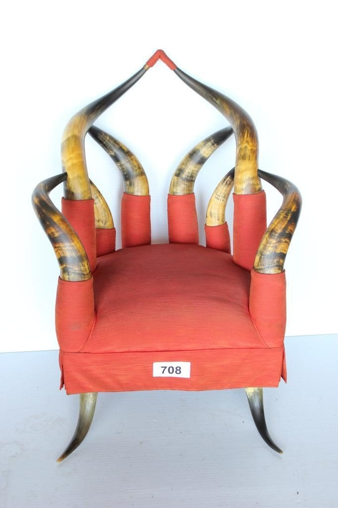708: Cow Horn Furniture Chair - 12 Horns