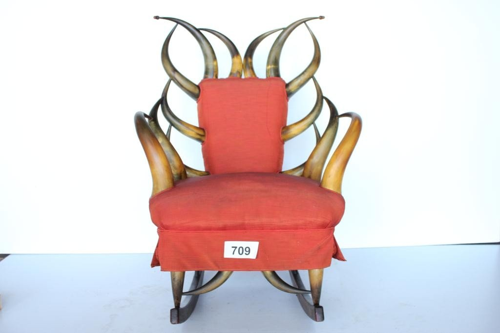 709: Cow Horn Rocker Chair - 22 Horns
