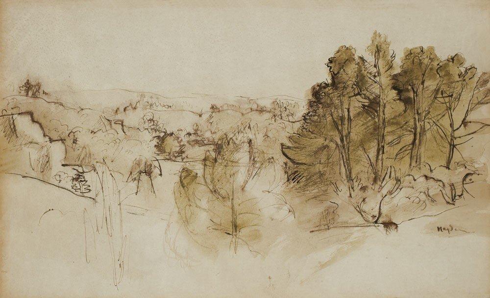 3: Henri Hayden 1883-1970 Paysage boisé Encre et aquare