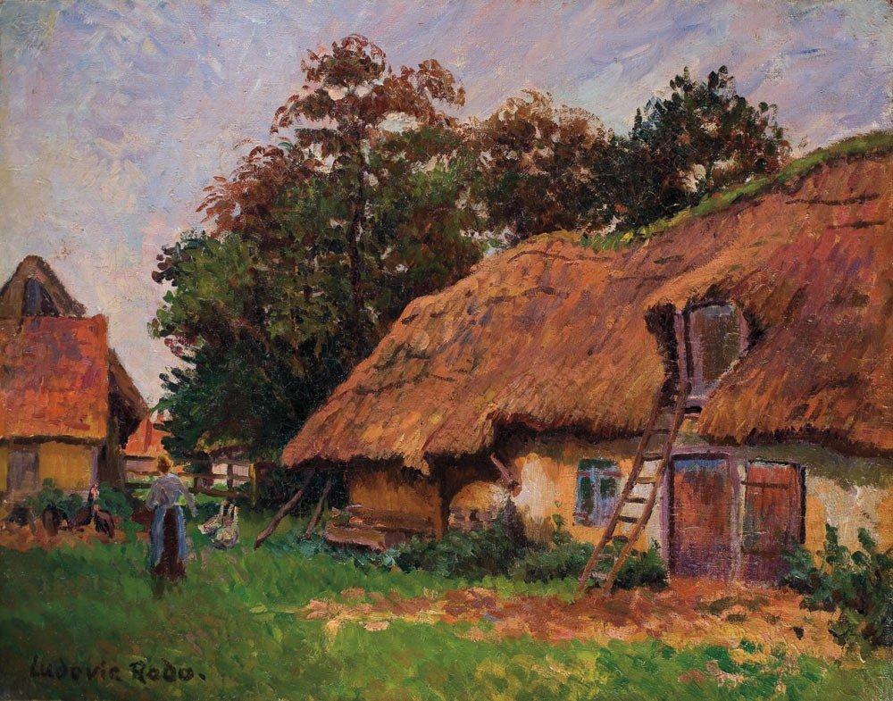 14: Ludovic Rodo Pissarro 1878-1952 Cour de ferme Huile