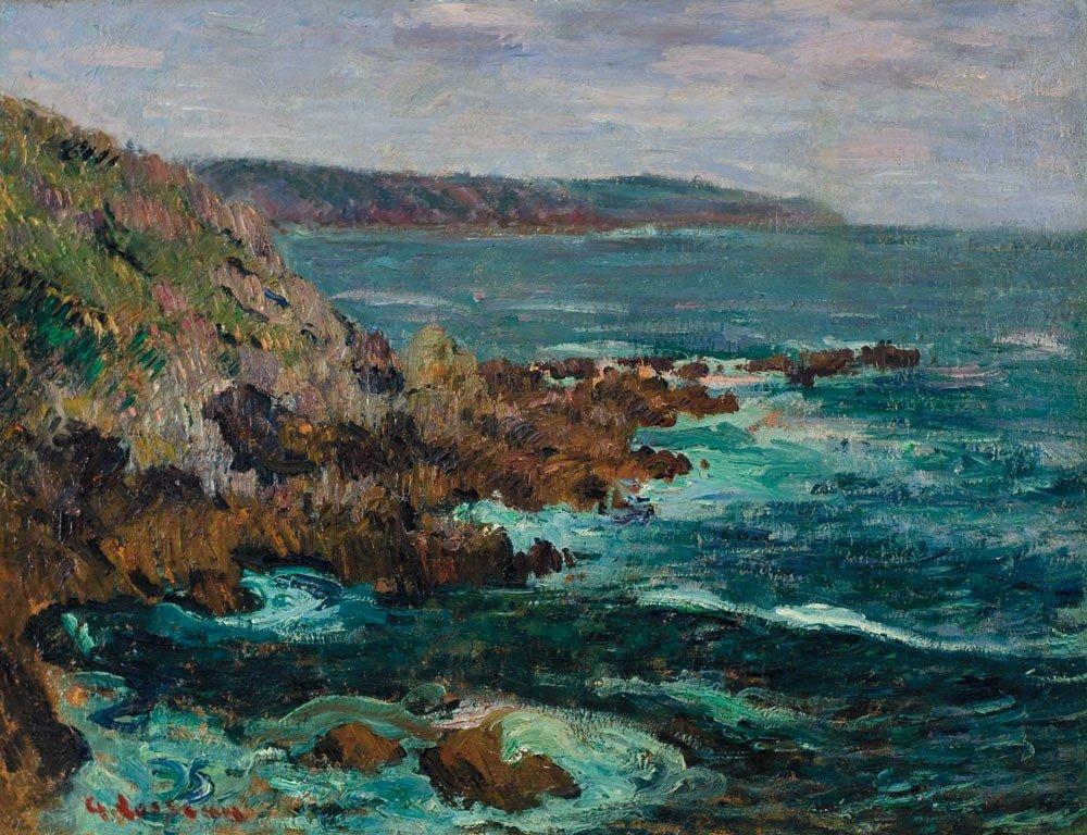 23: Gustave Loiseau 1865-1935 Rochers dominant la mer e