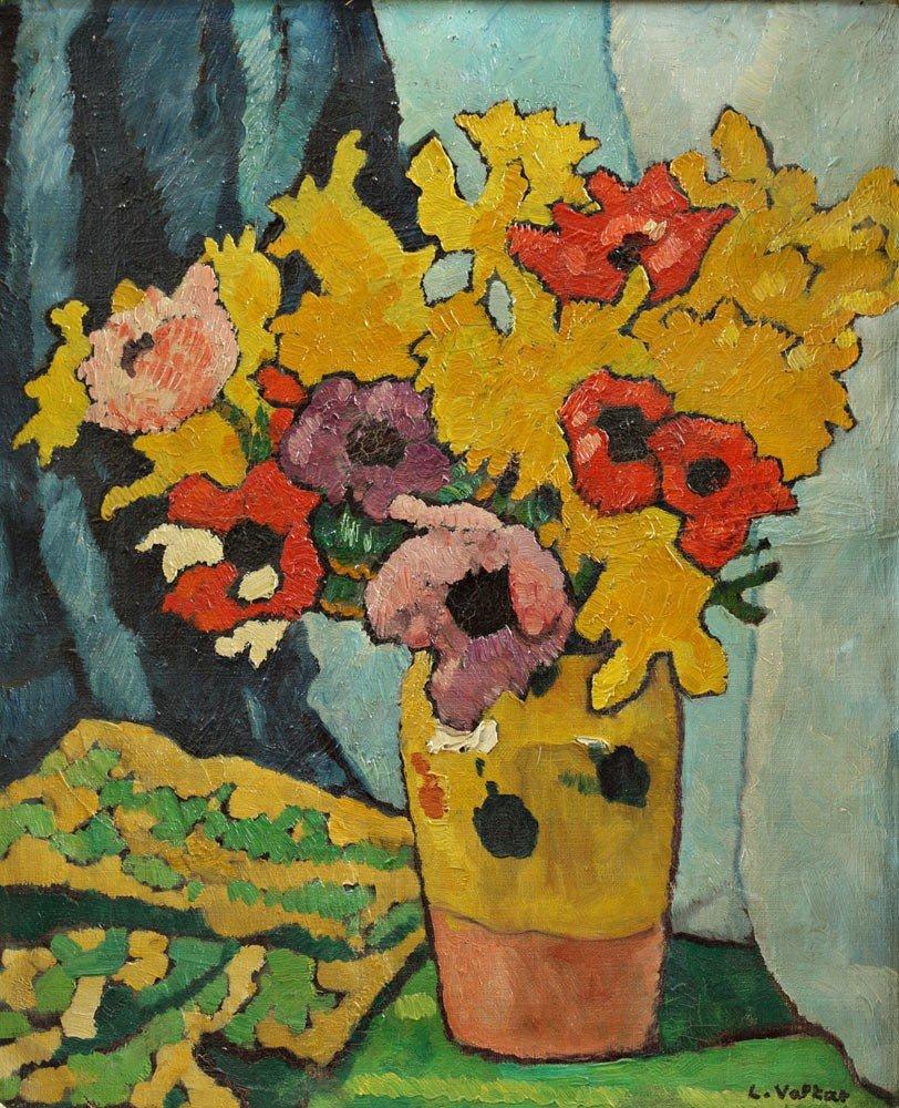 25: VALTAT Louis 1869-1952 Bouquet d'anémones et de jon