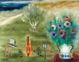 131: Reuven Rubin 1893-1974 Homage a Casals, 1972 Huile