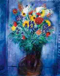 132: Reuven Rubin 1893-1974 Vase de fleurs Huile sur to