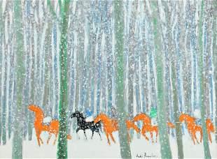 134: Andre Brasilier Né en 1929 Chevaux dans la neige,