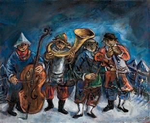 145: Yosl Bergner Né en 1920 Village band Huile sur toi