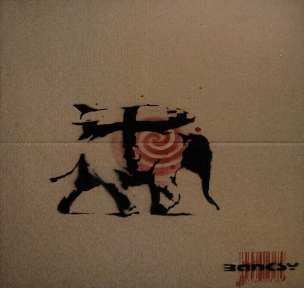 "43: Banksy Untitled (""Heavy Weaponry"" stencil over"