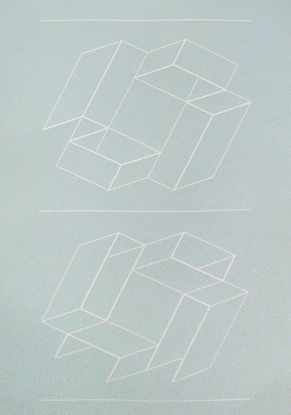 1B: Josef Albers Lot of 3 White Embossing on gray