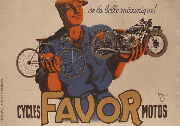 24: Vintage Poster, Cycles Favor Motos, c. 1937