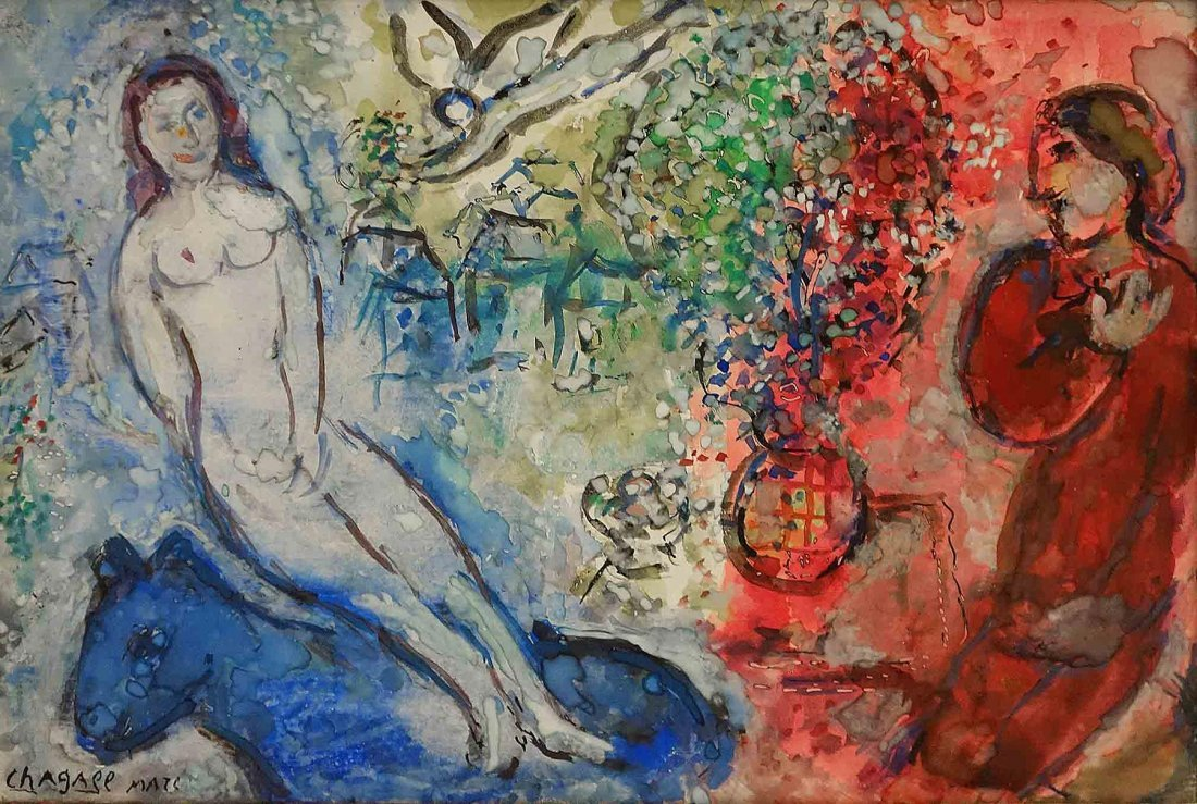 Marc Chagall, Le Nu A L'ane Bleu, 1978