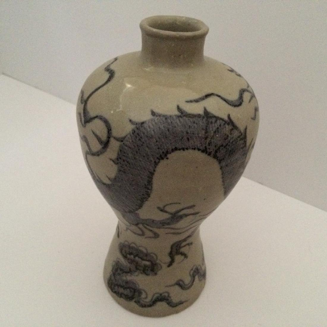 """Yuan Dynasty Wh/Blue Mei Ping Vase with Dragons (8""""H)"""