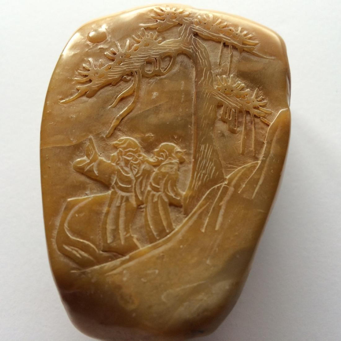 """Antique Tian Huang Carved Boulder Landscapes (3""""L)"""