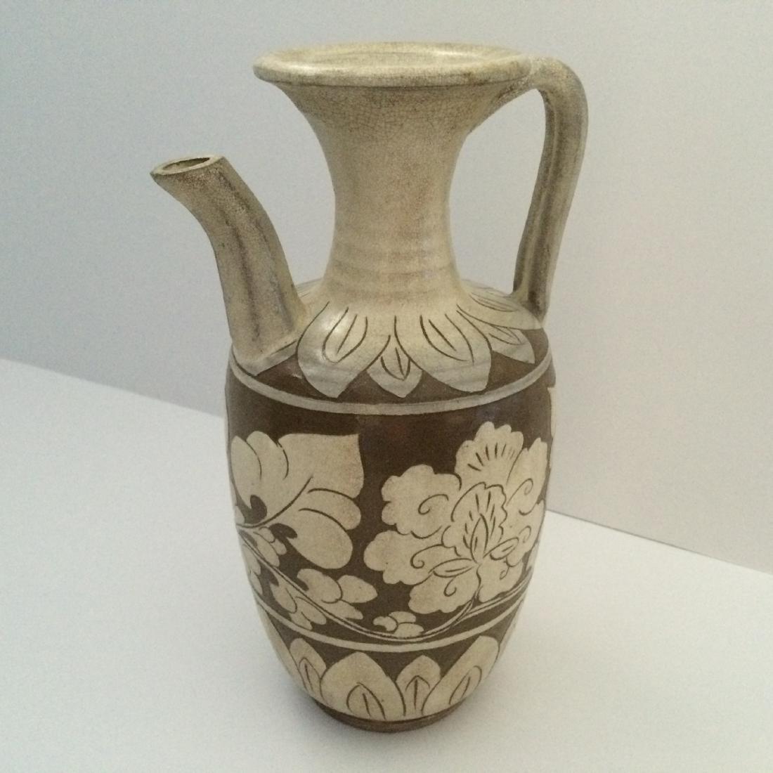 "Chinese Liao Dynasty Ceramic Ci Zhou Ware Pitcher 10""H"
