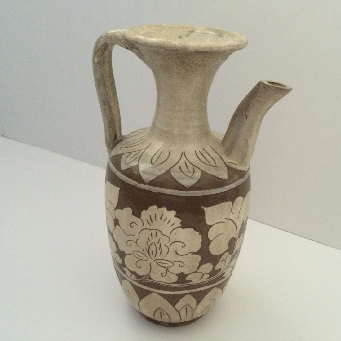 "Chinese Liao Dynasty Ceramic Ci Zhou Ware Pitcher 10""H - 3"