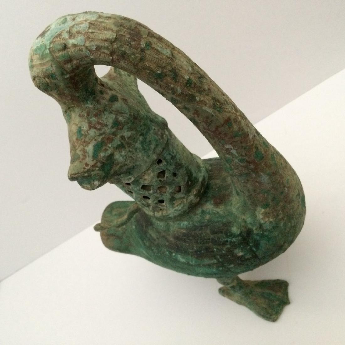 "Old Bronze Incense Burner, Duck w Fish (12.5""H) - 4"