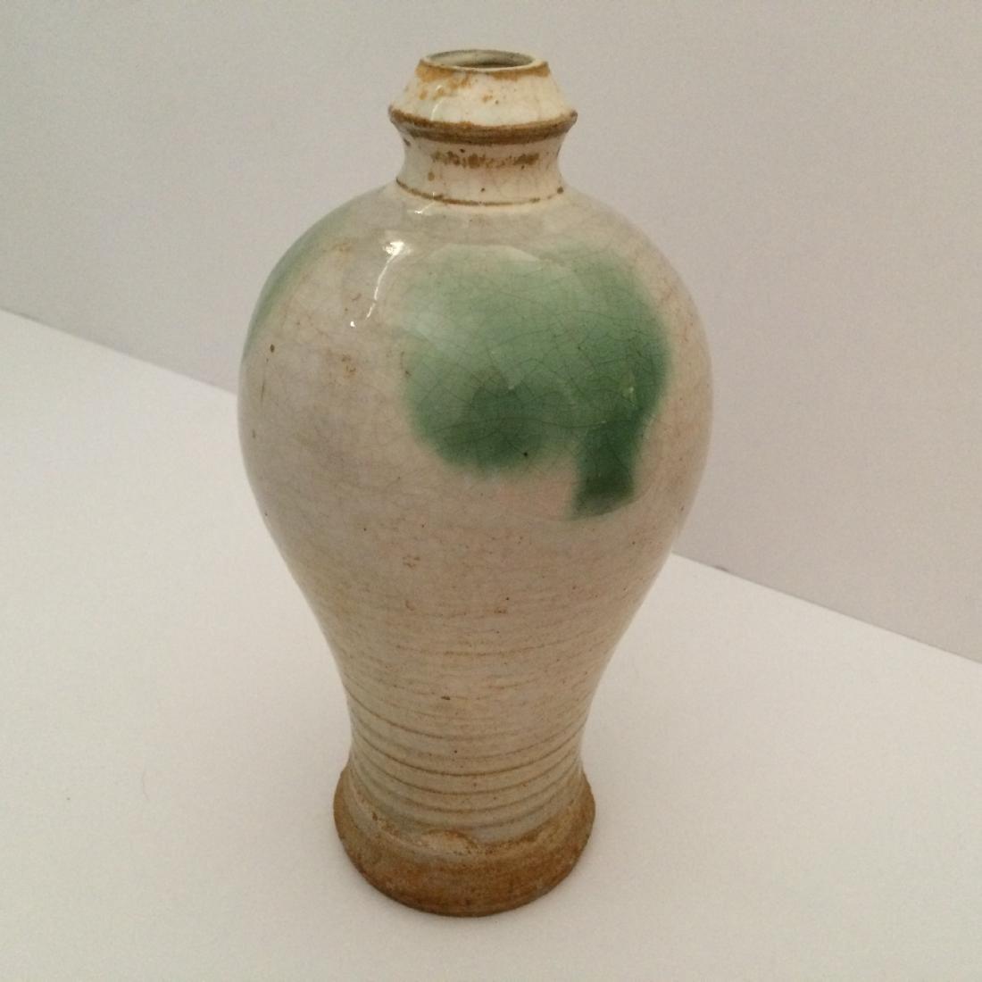 "Chinese Ming Dynasty Tall Hue Ware Gray Vase (8""H)"