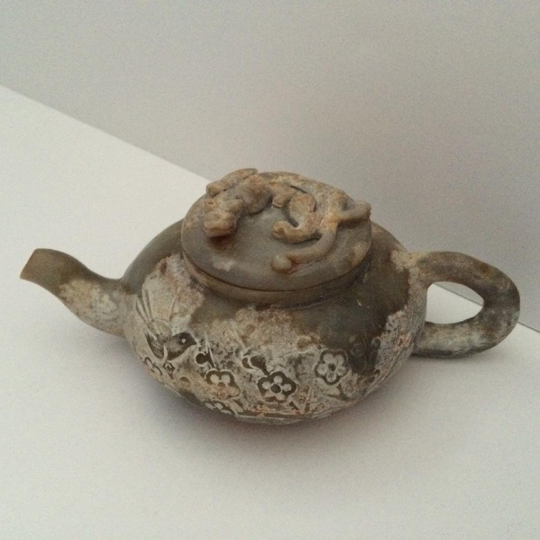 """Old Chinese Carved Dragon Jade Tea Pot & Lid (7""""L)"""