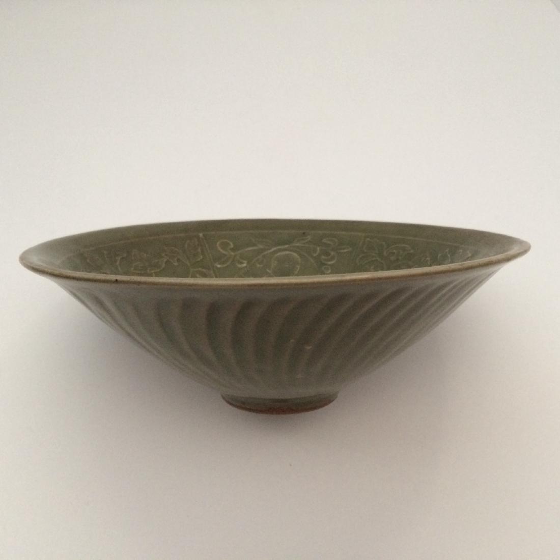 "Chinese Antique Yaozhou Ware Celadon Bowl (7.5""Dia)"