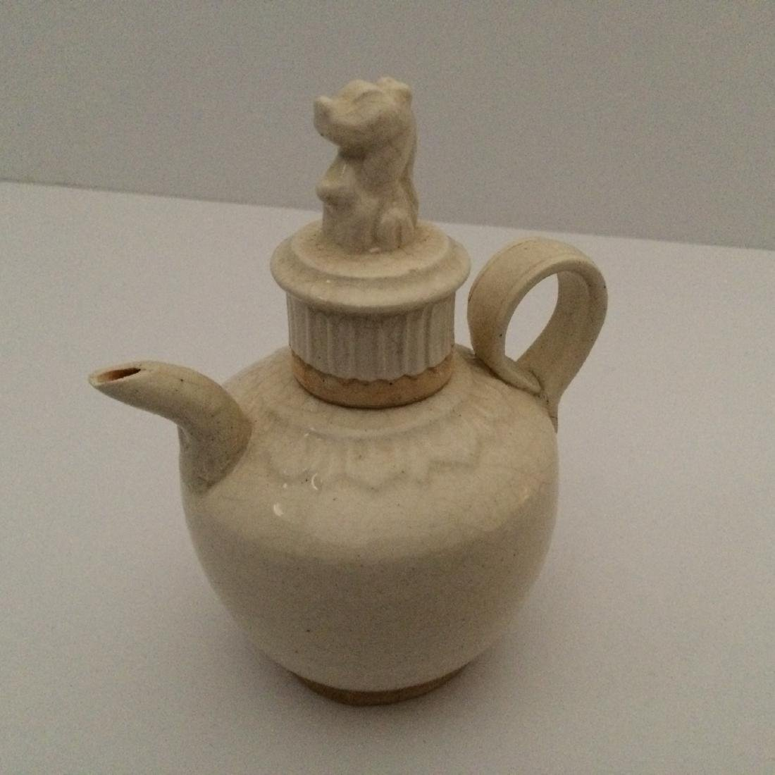 Chinese Ty White Porcelain Teapot with Fu Dog Top