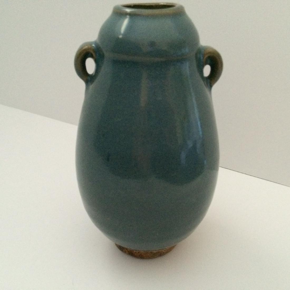 "Chinese Antique Porcelain Qun Ware Two Ear Vase (7""H) - 2"