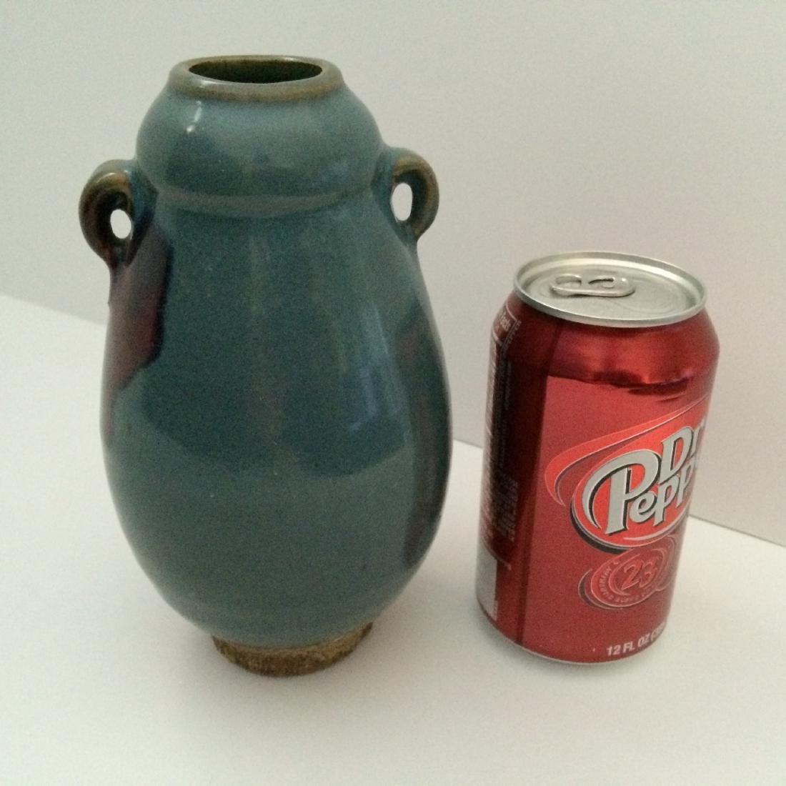 "Chinese Antique Porcelain Qun Ware Two Ear Vase (7""H) - 3"